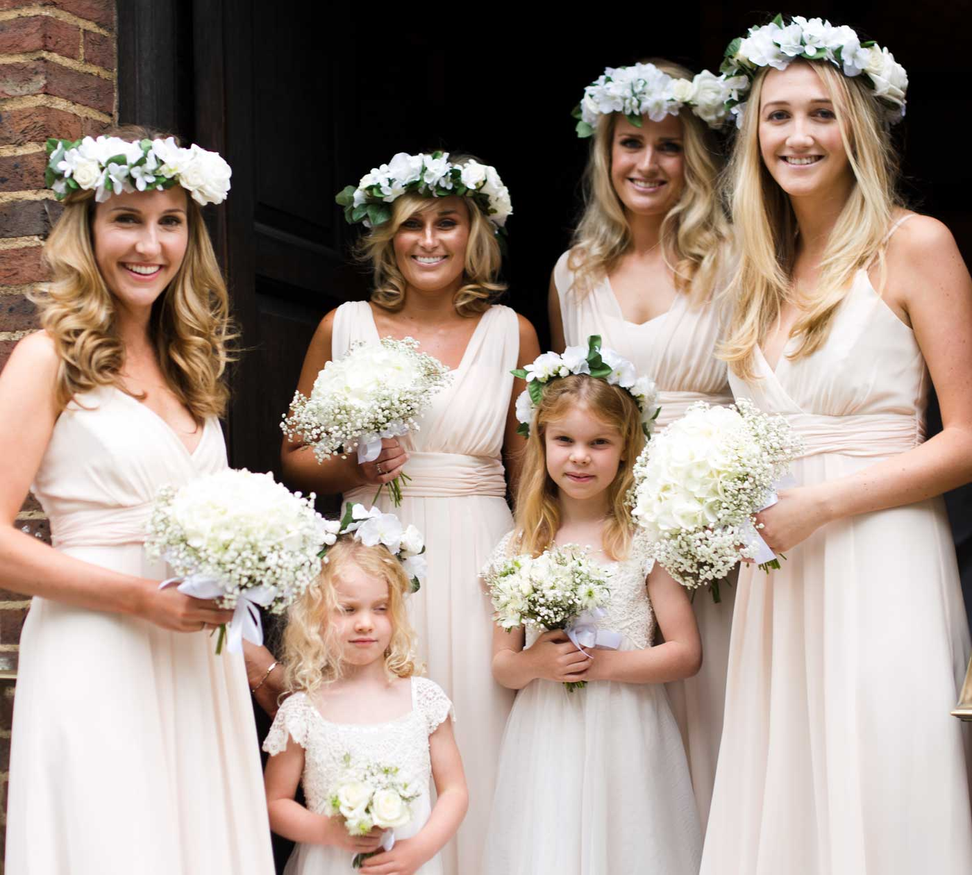 Bridesmaids in flower crowns