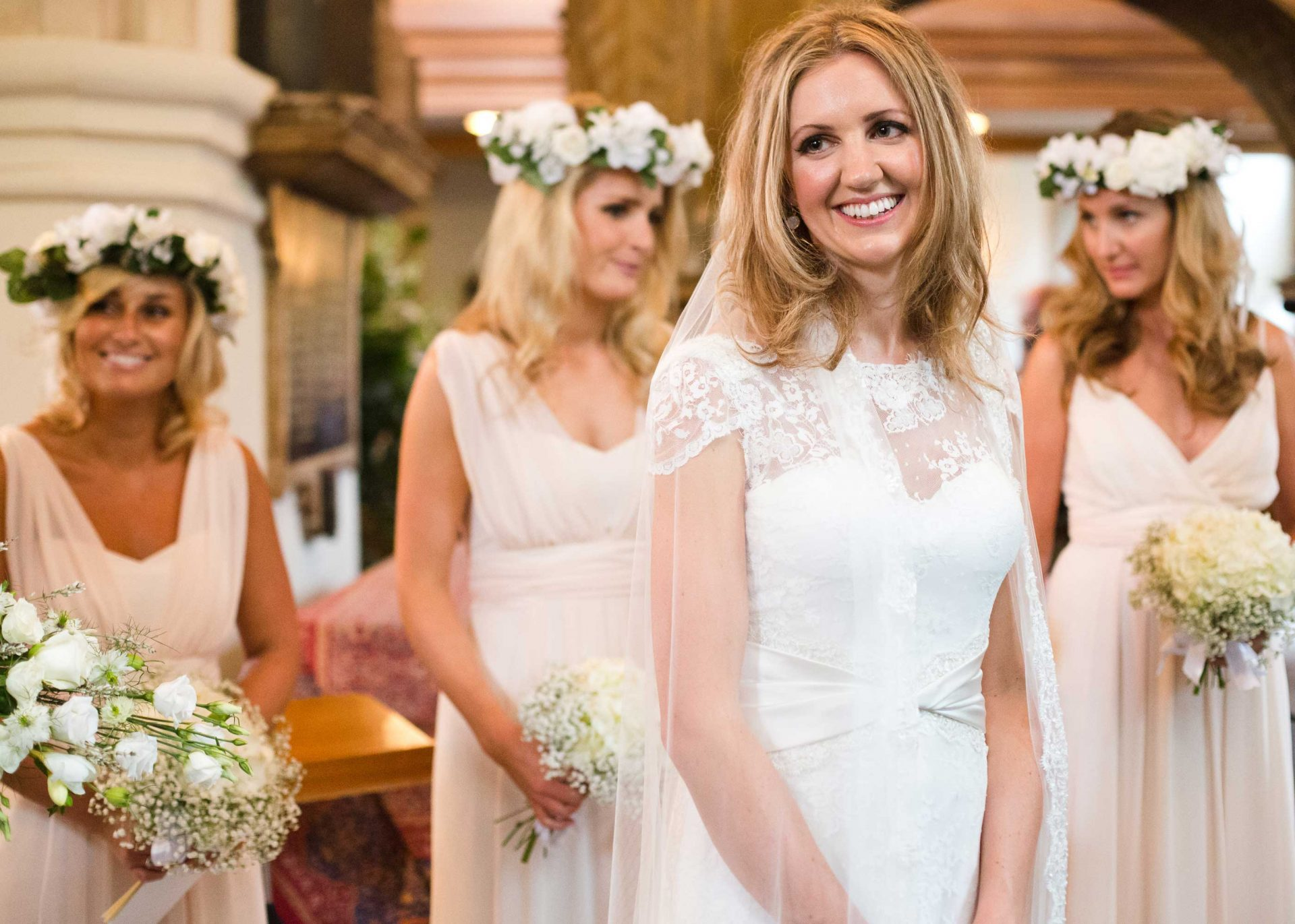 Bride and bridesmaids in flower crowns