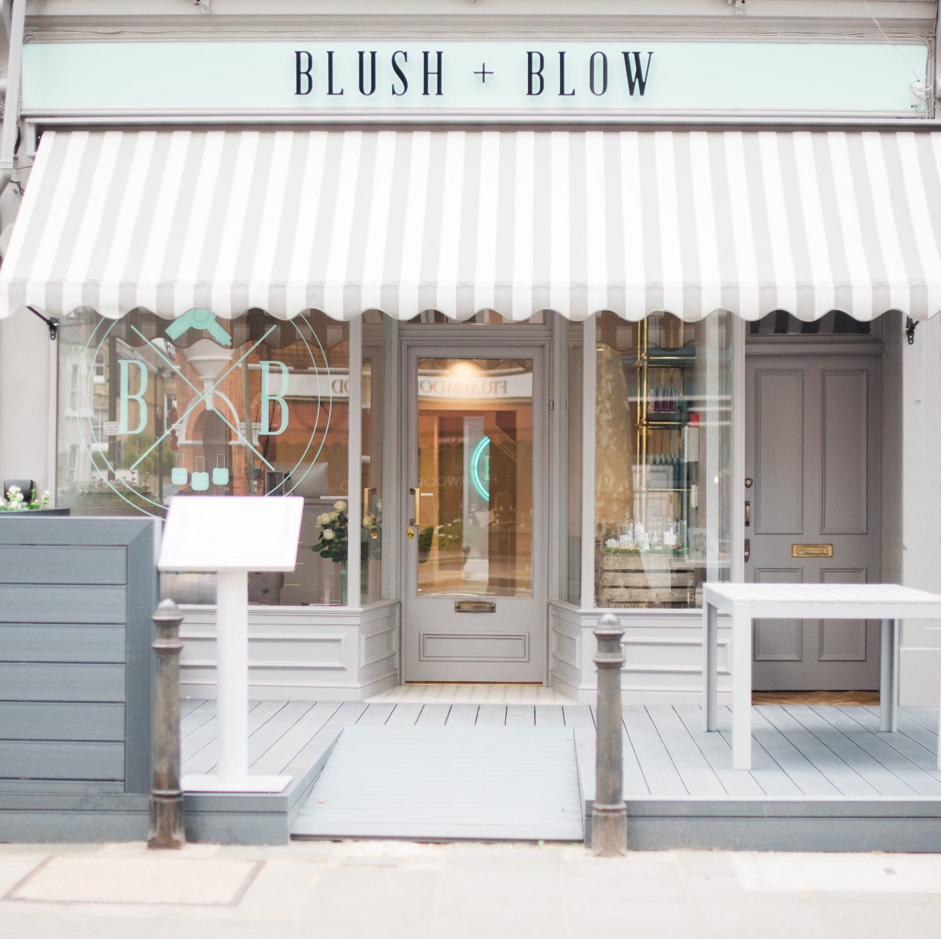 The front of blush and blow
