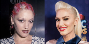 An image of Gwen Stefani before and after microblading